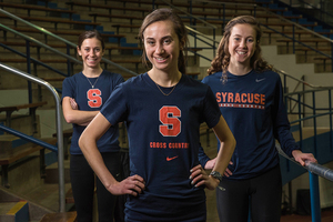 Malone sisters Margo (middle), Shannon (right) and Mary (left) will all be eligible to run on the same team for the first time since high school.