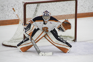 Abbey Miller notched 14 saves in a big win over Mercyhurst.