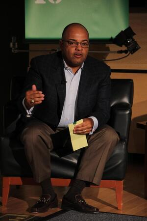 Mike Tirico has visited campus often, including a trip in October 2011 when this photo was taken.