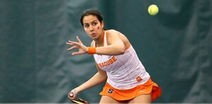 Dina Hegab won her singles match on Friday afternoon, helping SU to its first ACC win of the year.