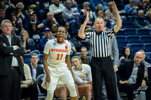 Freshman Gabby Cooper came up big in her first NCAA Tournament appearance. She hit eight 3-pointers in the Syracuse blowout win.