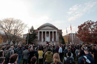 Students participate in the Sanctuary Campus rally in front of Hendricks Chapel. The rally was one of many held at universities around the country.