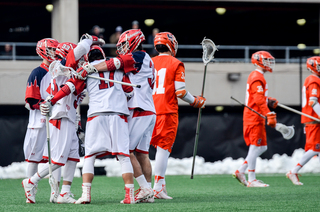 The Red Storm celebrates after scoring a goal.