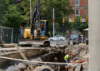 Work continues on the sewer line upgrade along Waverly Avenue. The project is expected to be completed in August. Photo taken July 18, 2017